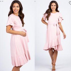 Pinkblush Light Pink Flounce Trim Maternity Dress